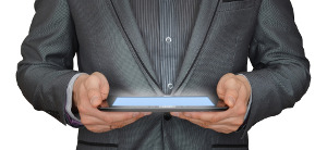 roy abrams icon businessman with tablet