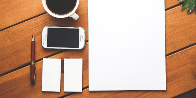 how to convey your brand icon blank paper on table